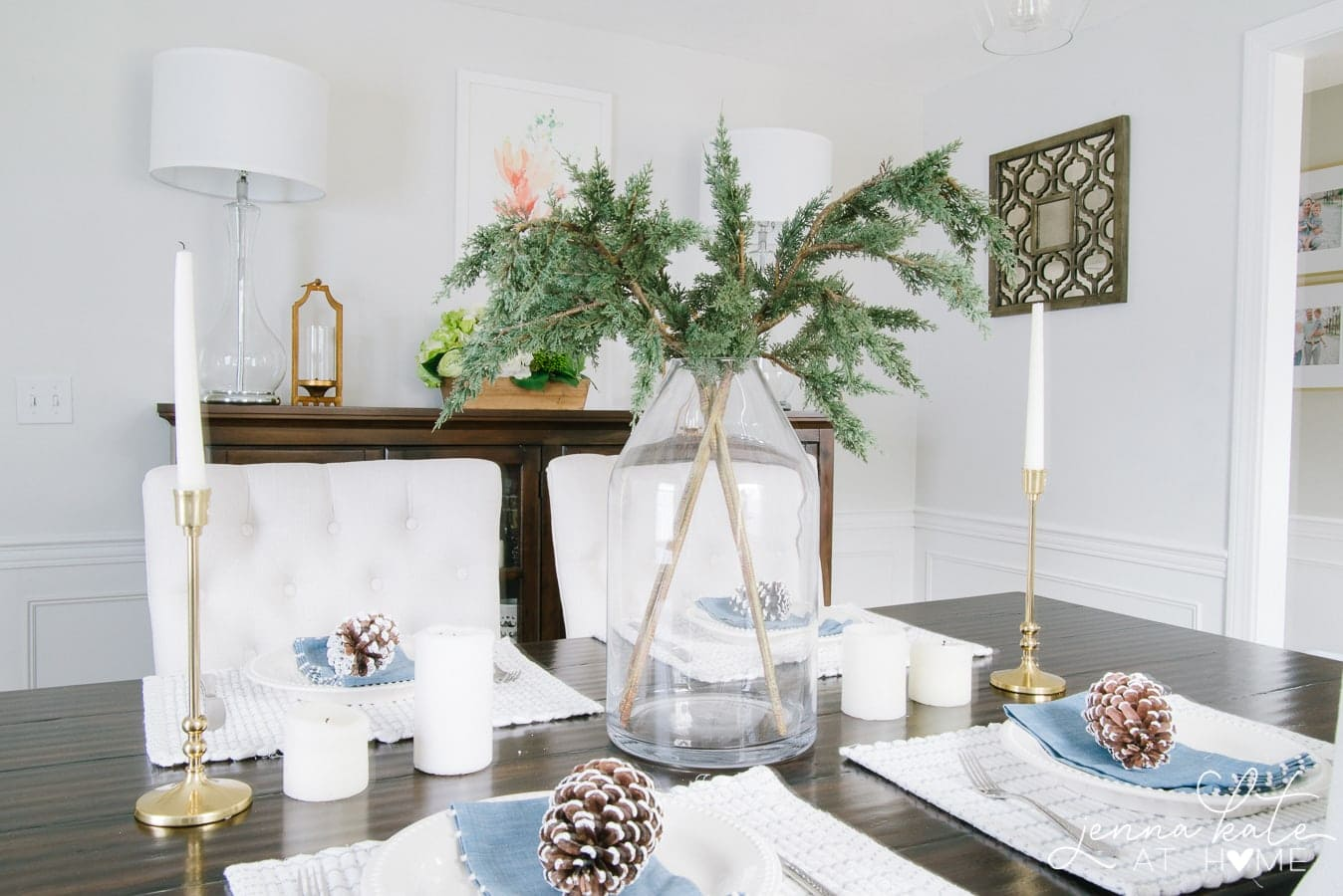 Monochromatic tablescape with shades of white and blue for winter