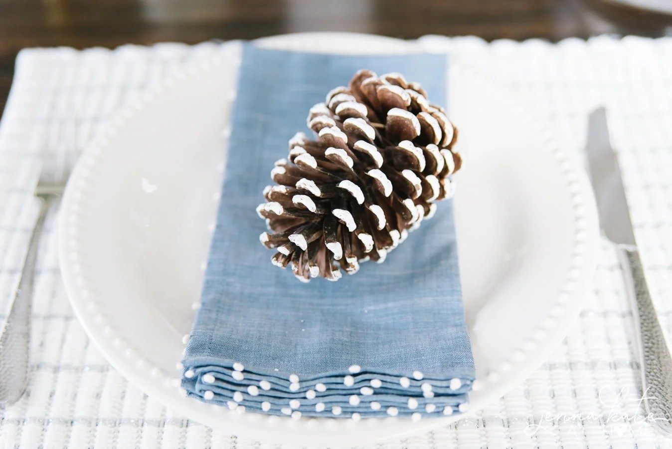 Pine cone on a white plate with a soft blue napkin