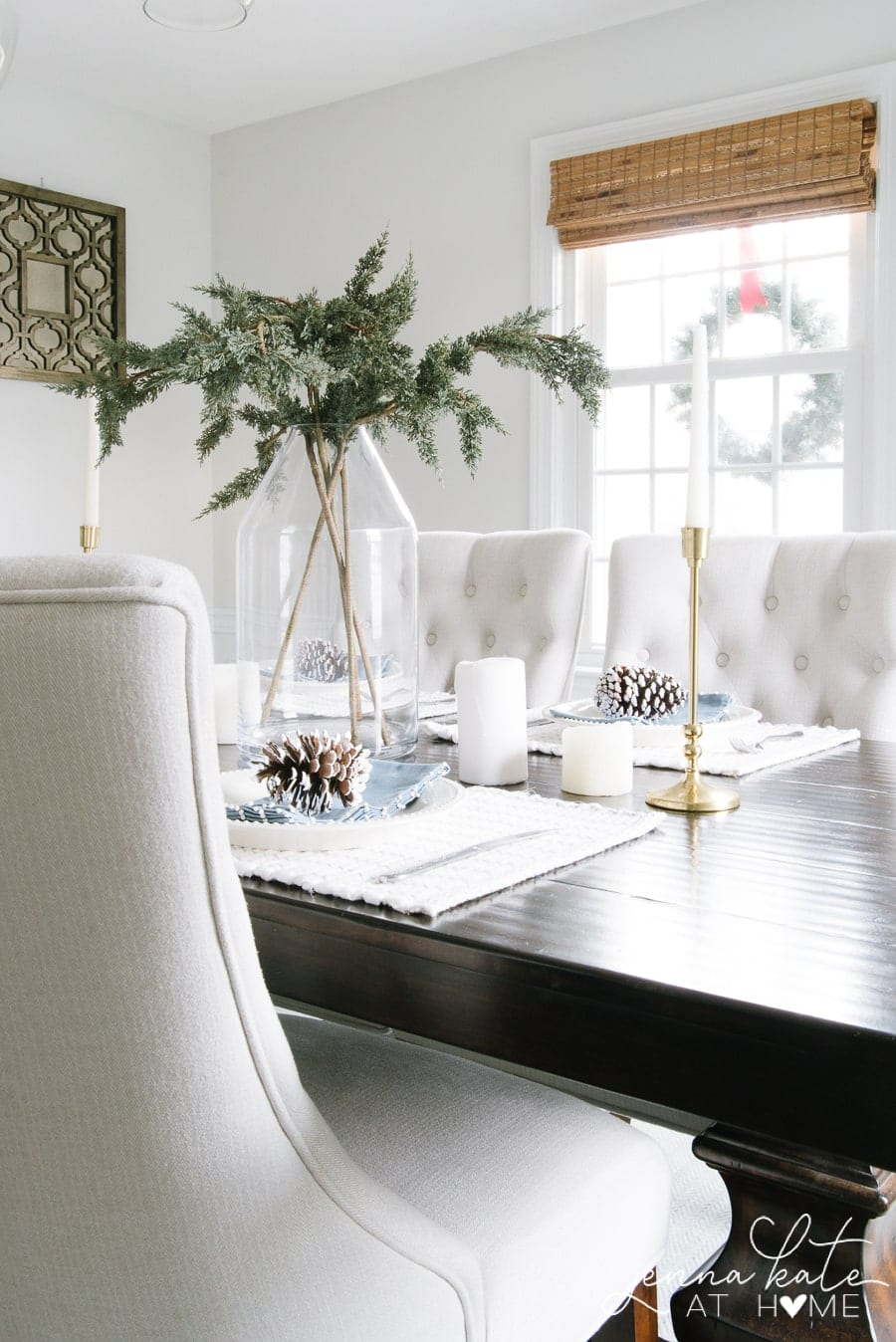 Non red Christmas items can be incorporated into winter table decor