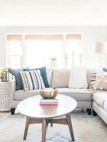 living room couch with throw pillows