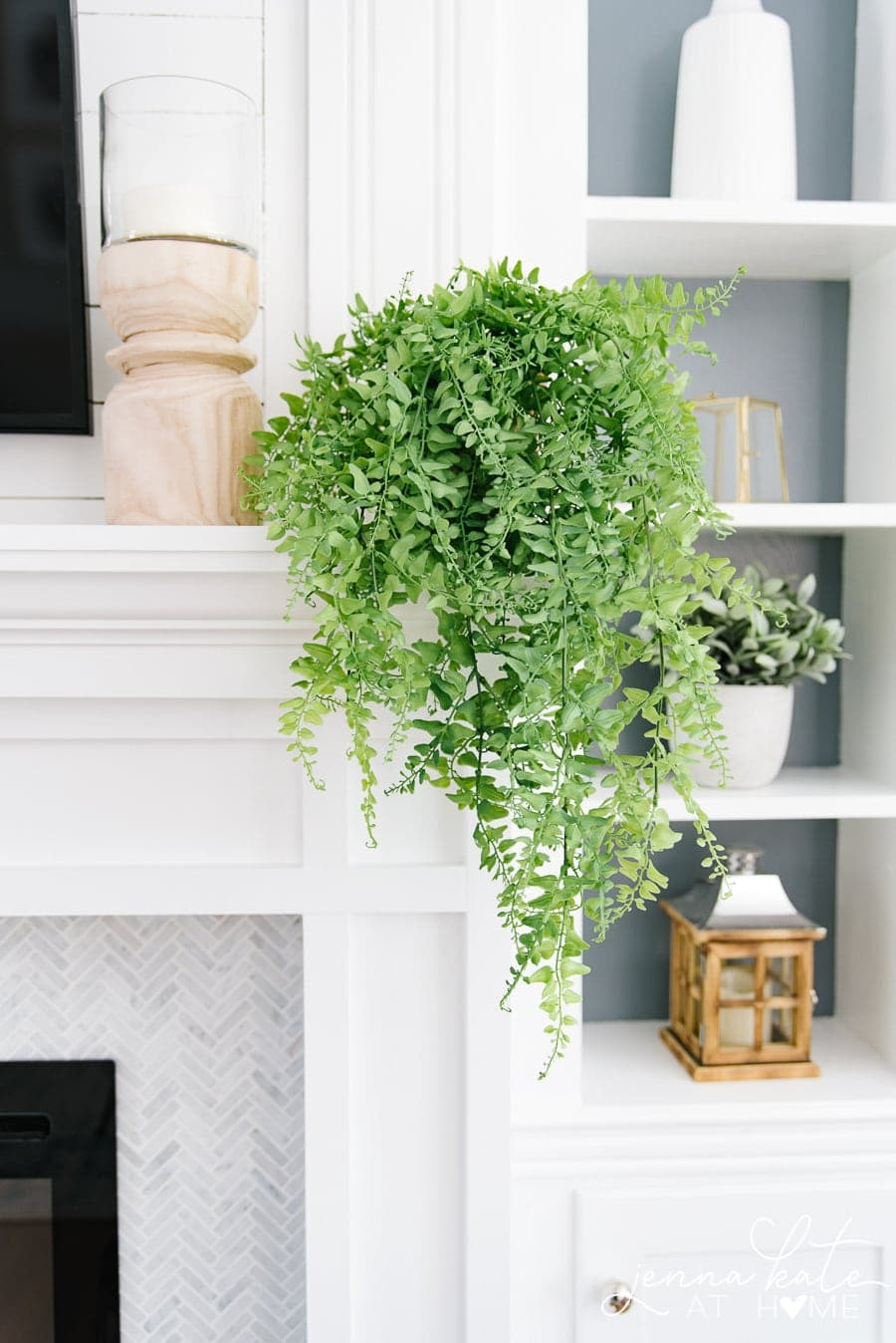 This easy faux trailing plant gives all the fresh green pops of color without the upkeep of a live plant