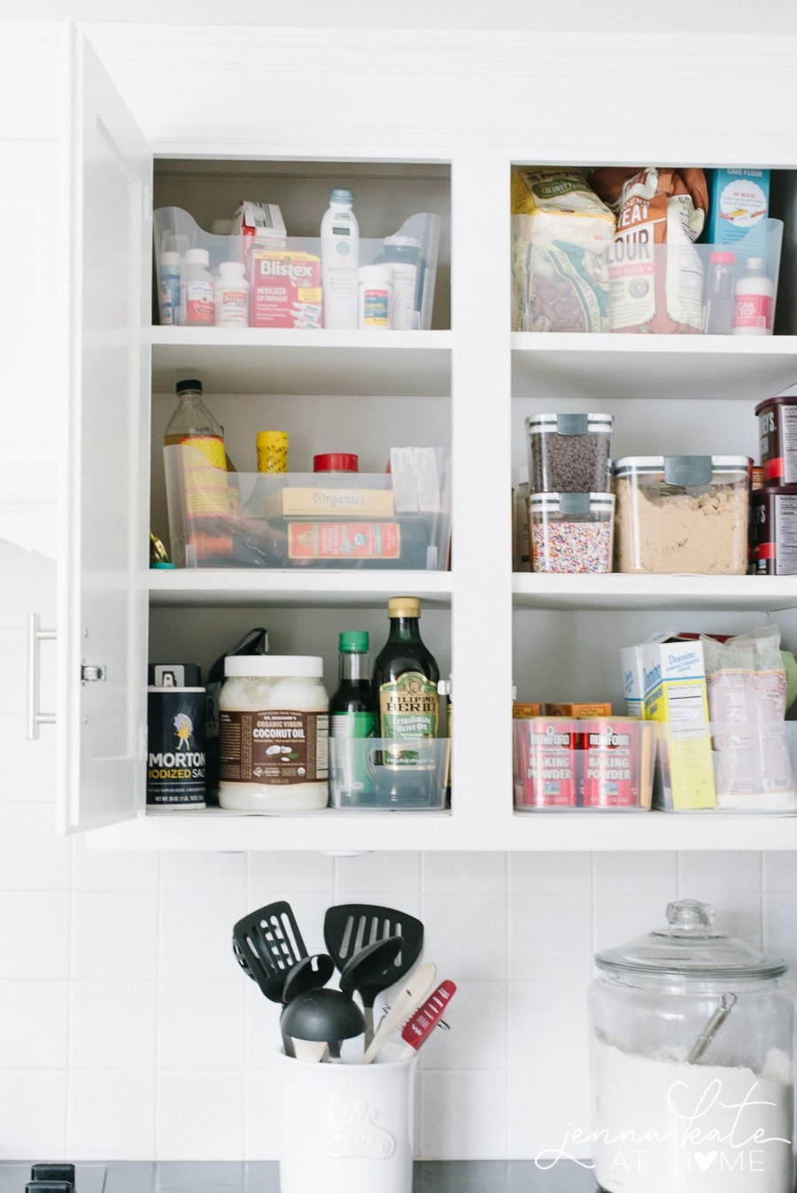 How to organize baking and cookies supplies in kitchen cabinets