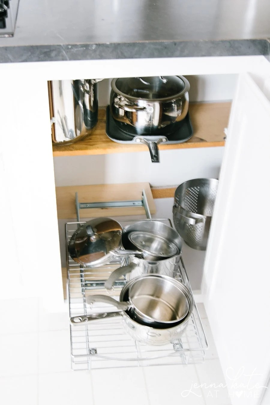 Pull-out shelves for cupboards to organize pots and pans