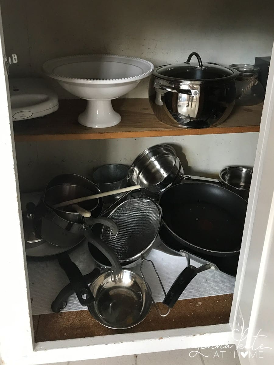 Pots and pans before being organized