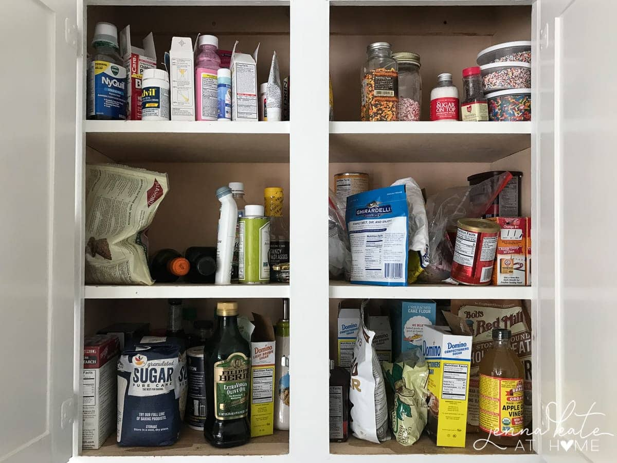 Kitchen cabinet organization before and after