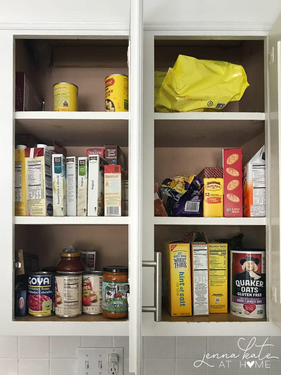 Kitchen pantry essentials before being organized