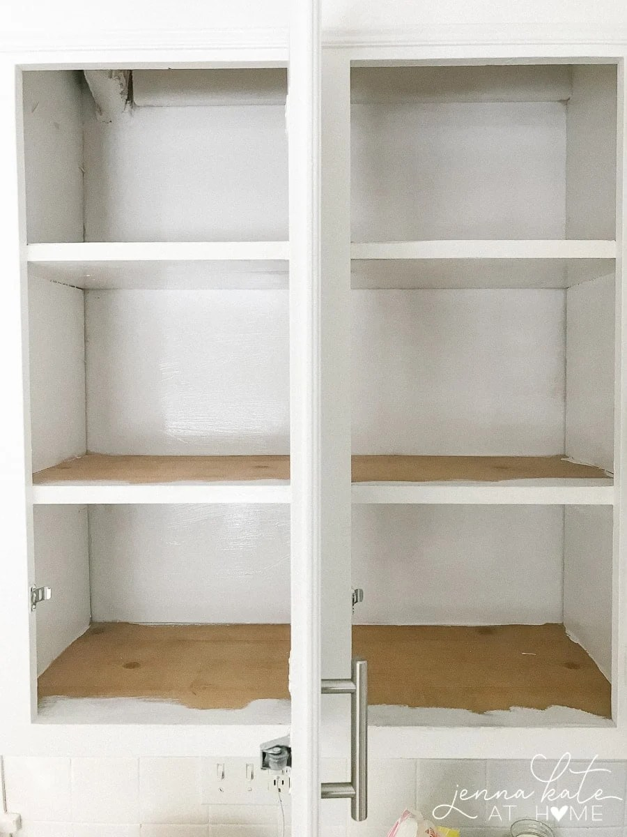 painted insides of kitchen cabinets before organization