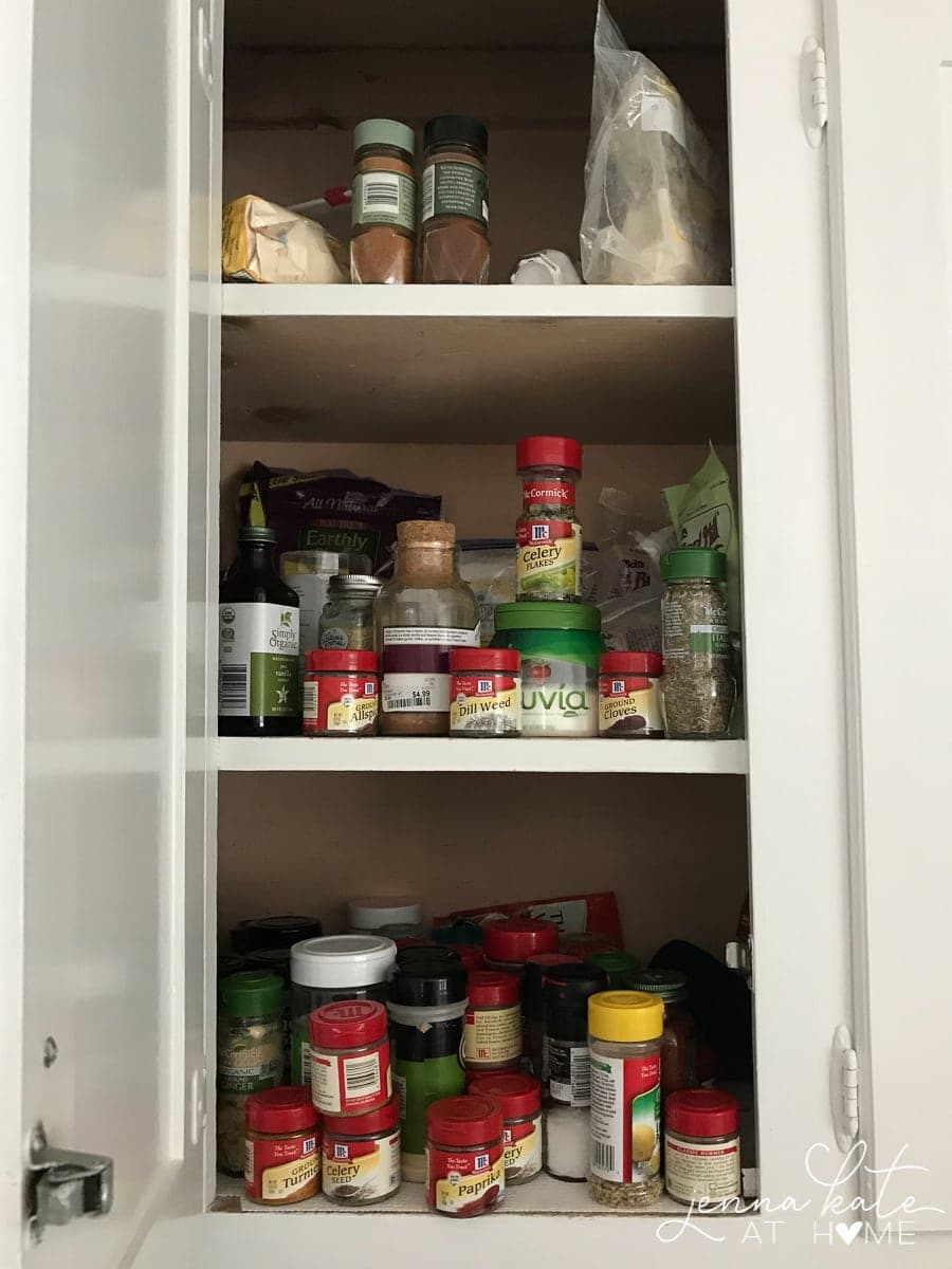 DIY kitchen cabinet organization before and after