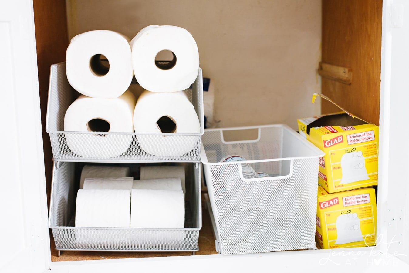 organization ideas for paper towels and toilet paper