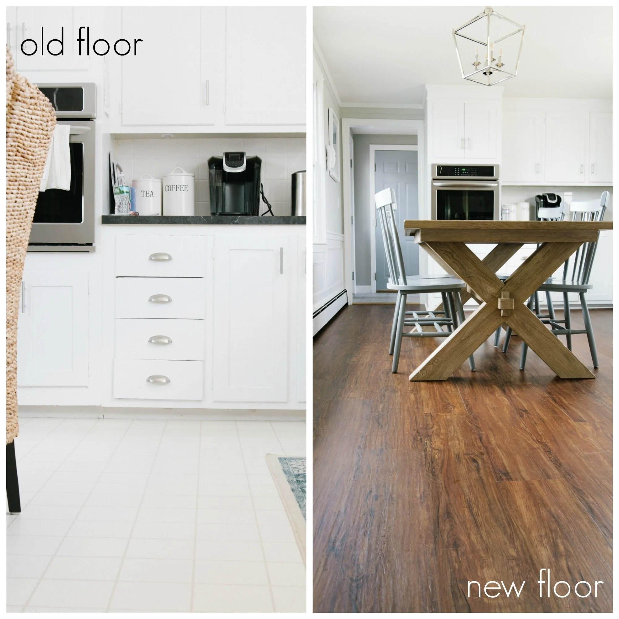 How to install luxury vinyl plank flooring,  before and after