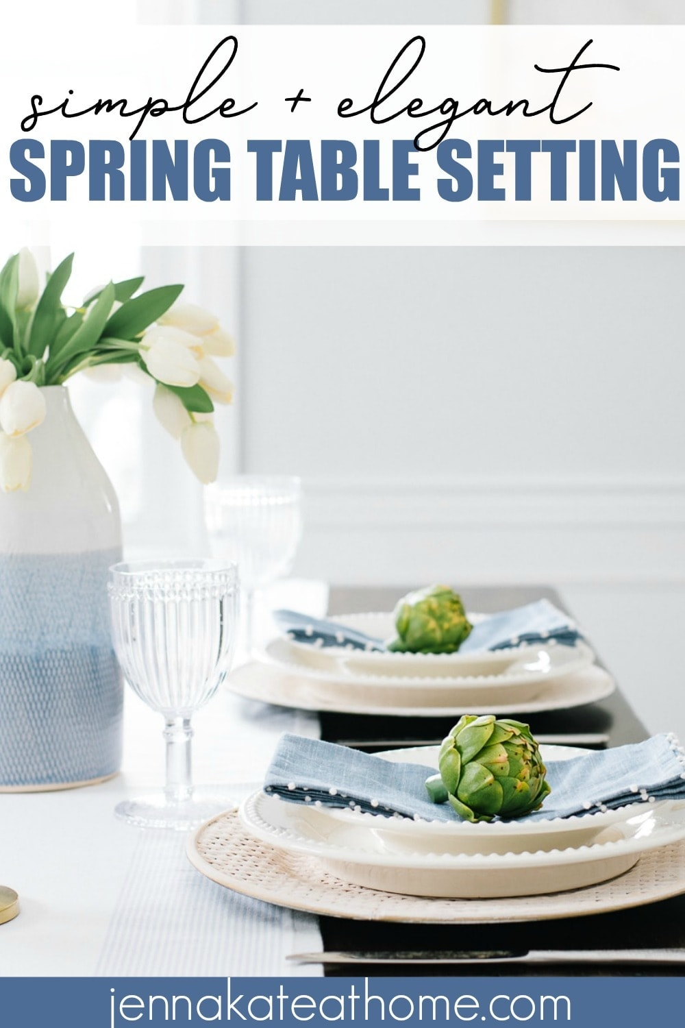 A simple but elegant spring table setting idea featuring shades of blue and white that's also perfect for Easter