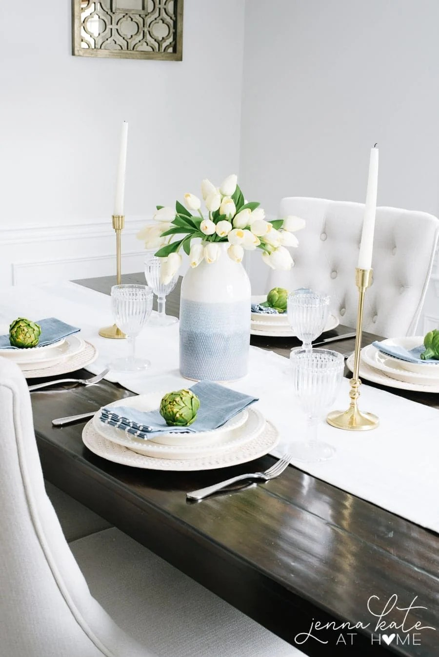 Spring table setting with blue vase and tulips