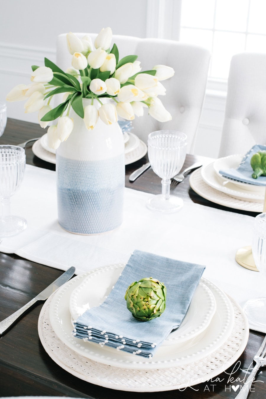 Faux artichokes and tulips are the best pop of green for spring table decor