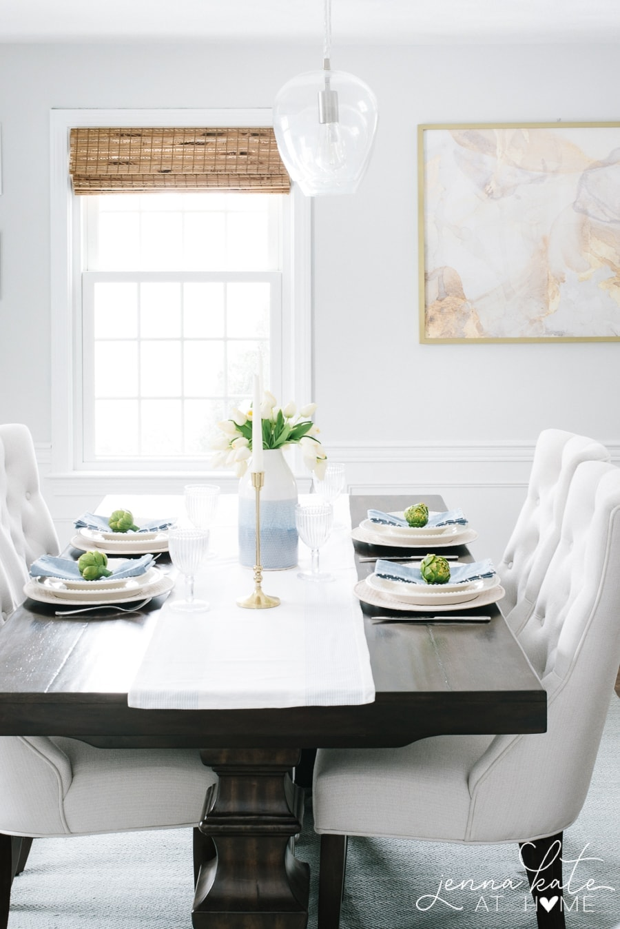 Spring table setting color palette of white, pastel blue and bright green