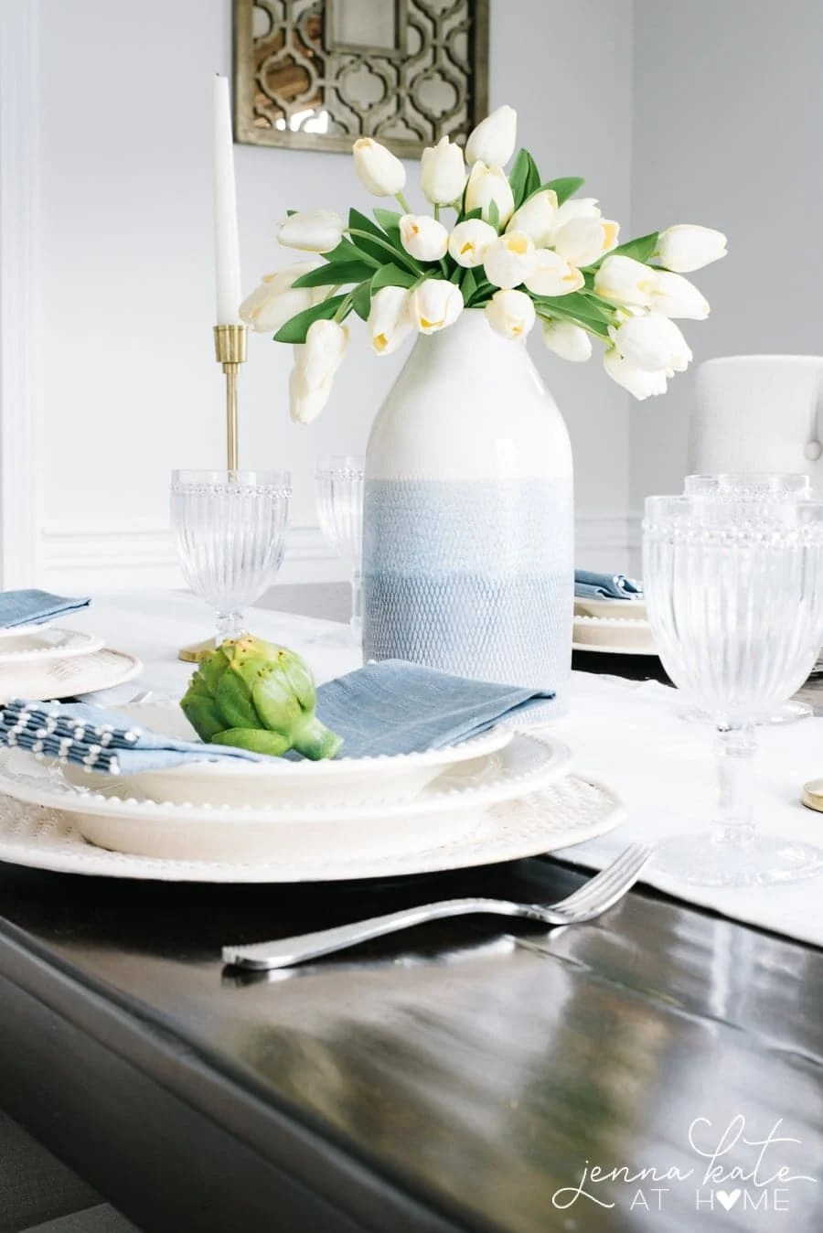 A simple tablescape with tulips for Easter