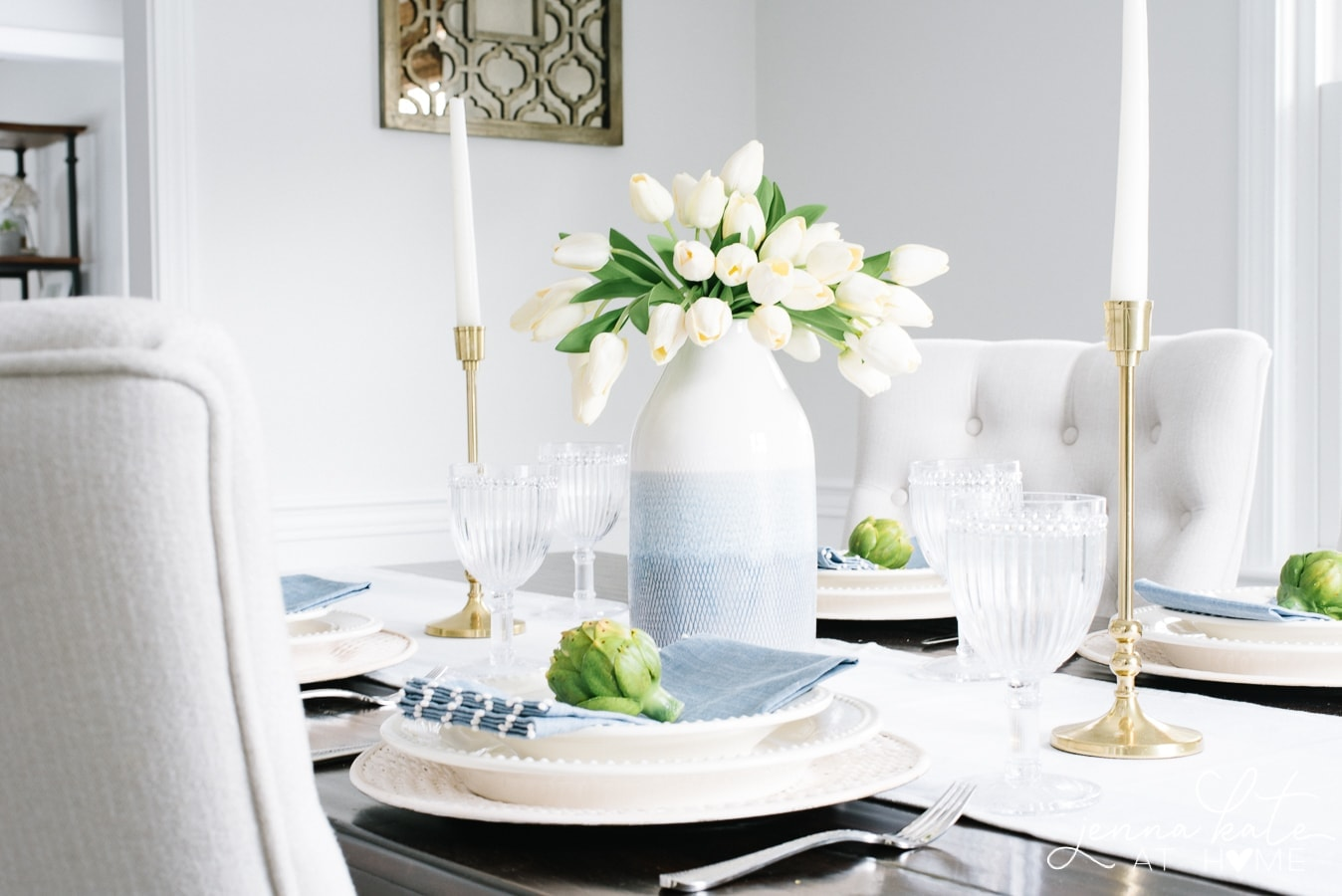 Classic white dishes for the spring tablescape