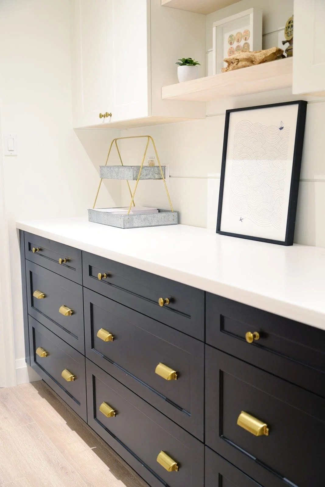 Use drawers instead of cabinets to store craft items for optimal craft room storage and organization