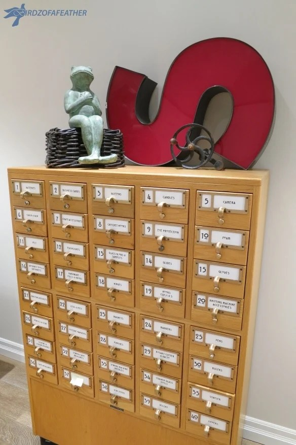 Use a card catalog to store small, like items The Making of a Craft Studio - Card Catalogue via Birdz of a Feather Jenna Kate at Home