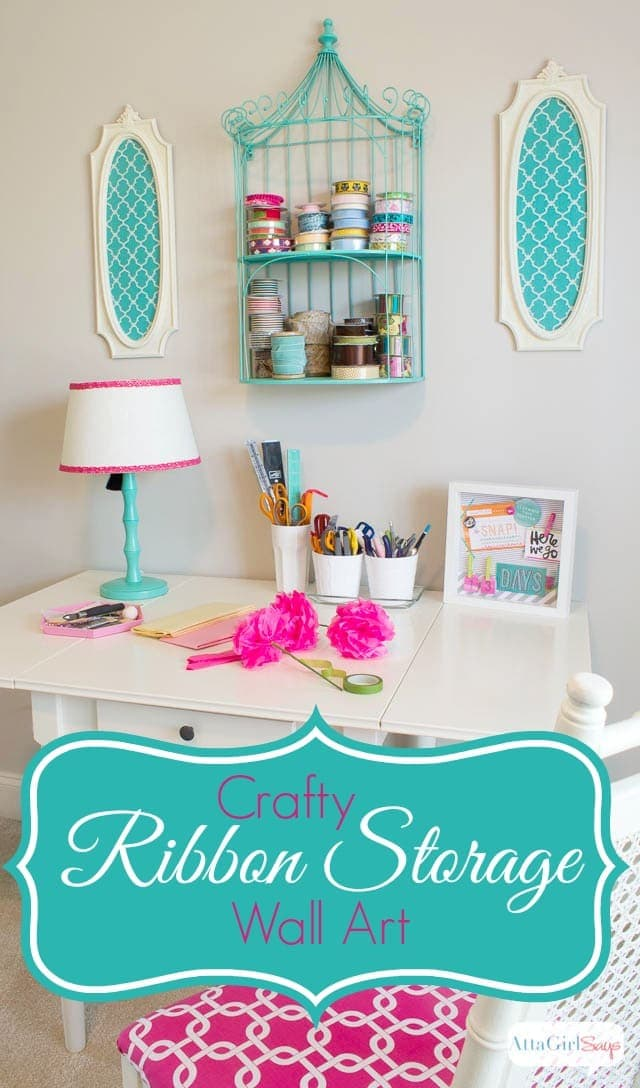 Creative craft room storage ideas: Use wall art as storage DIY Ribbon Organizer via Atta Girl Says