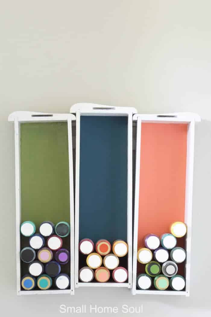 Secure drawers to a wall to store paint Office Makeover - Paint Drawers via Girl, Just DIY! Jenna Kate at Home