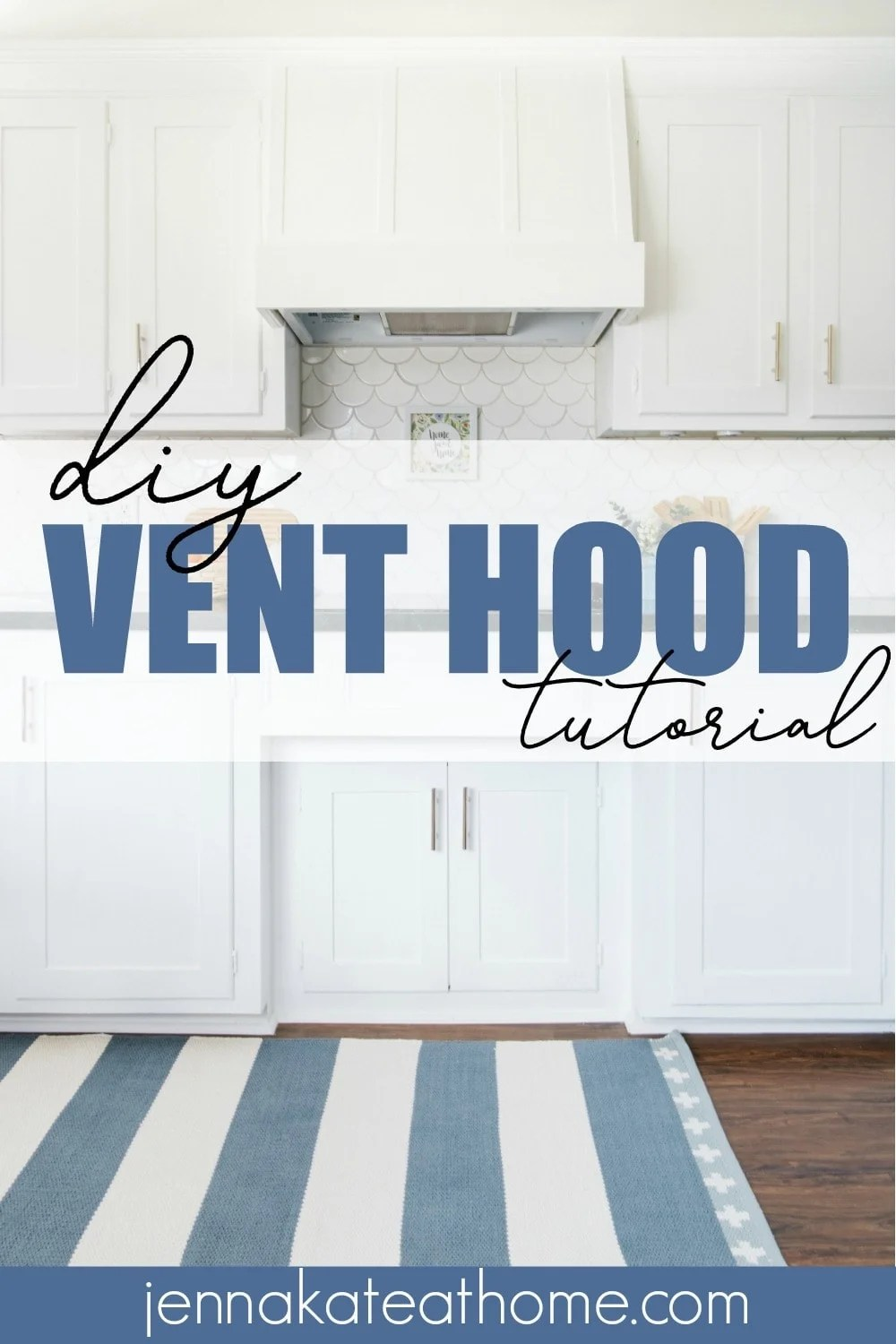 Learn how easy it is to build a DIY wood vent hood cover to match with your existing white cabinets for a custom look at a budget price!