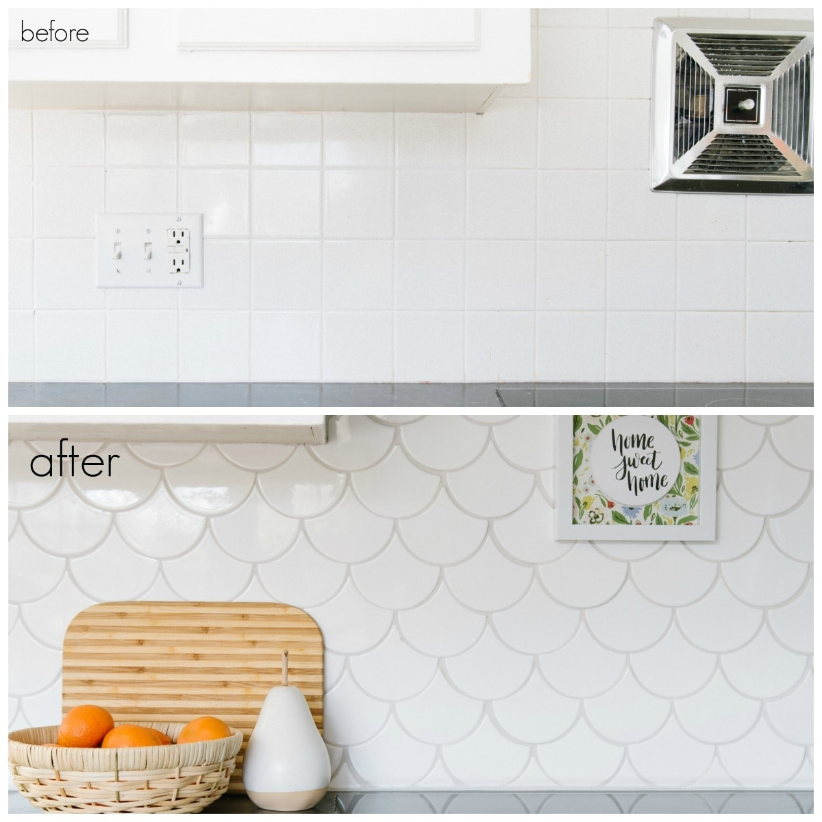 backsplash tile comparison of before and after