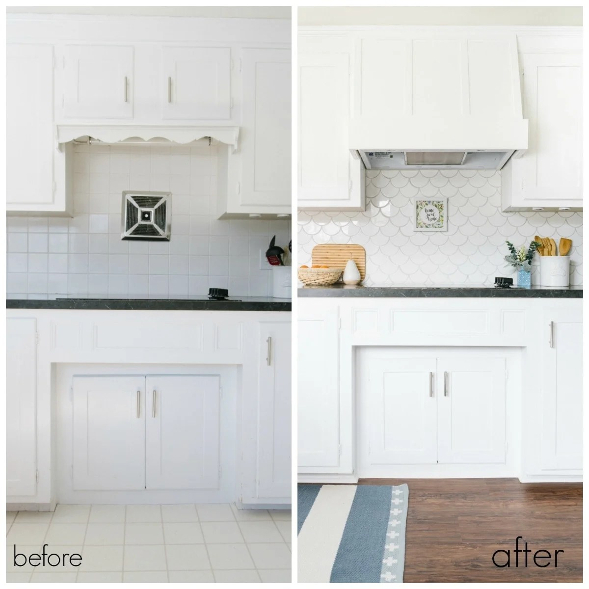 before and after of old range hood and new DIY hood