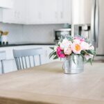 flower arrangement on kitchen table