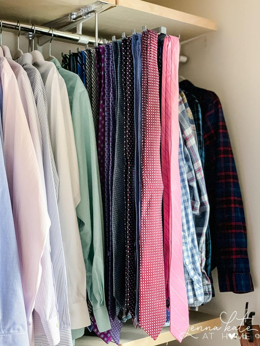 Pull out tie holder for men's for the perfect wardrobe layout in his closet