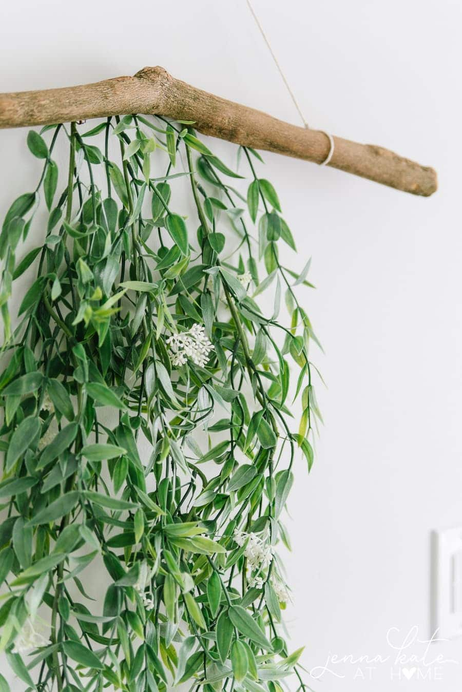 Close-up of leafy green garland hanging from branch
