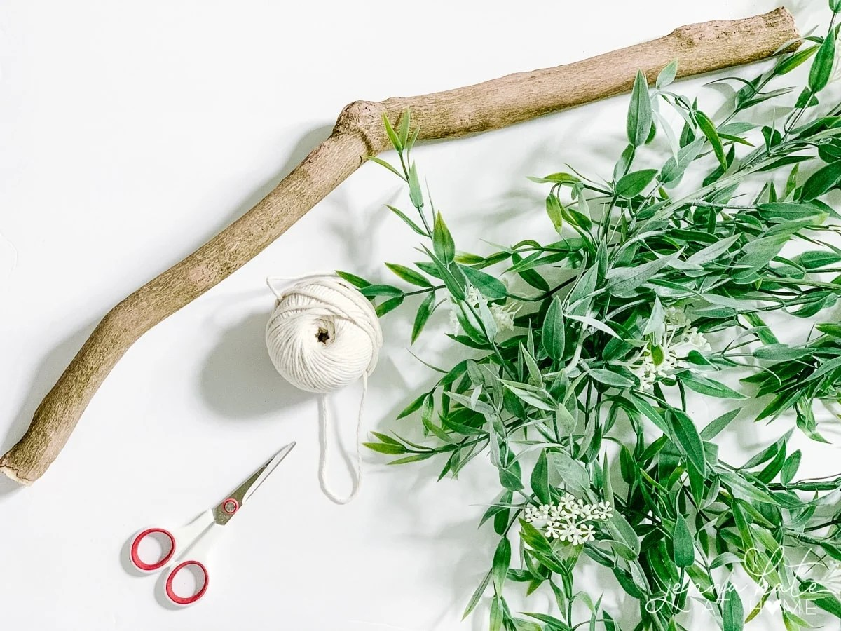 Branch, greenery, white twine and scissors