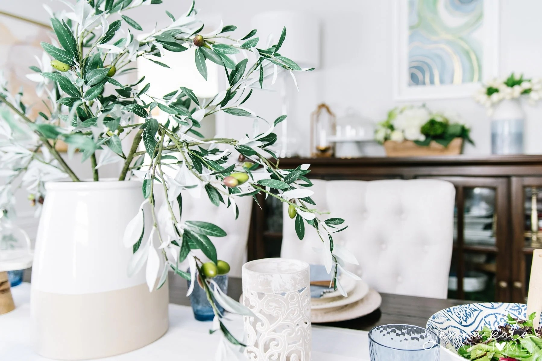 dining room with olive branch centerpiece