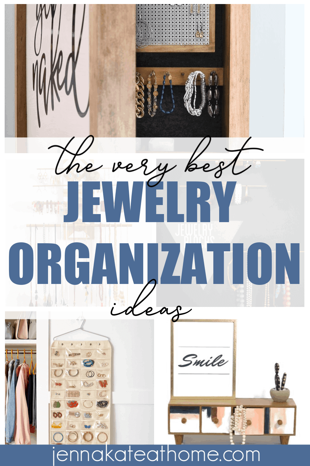 You'll love these creative ways to store & organize your jewelry. Includes smart ways to DIY your own jewelry storage as well as organization ideas you can buy and use in your drawer, closet or dresser.