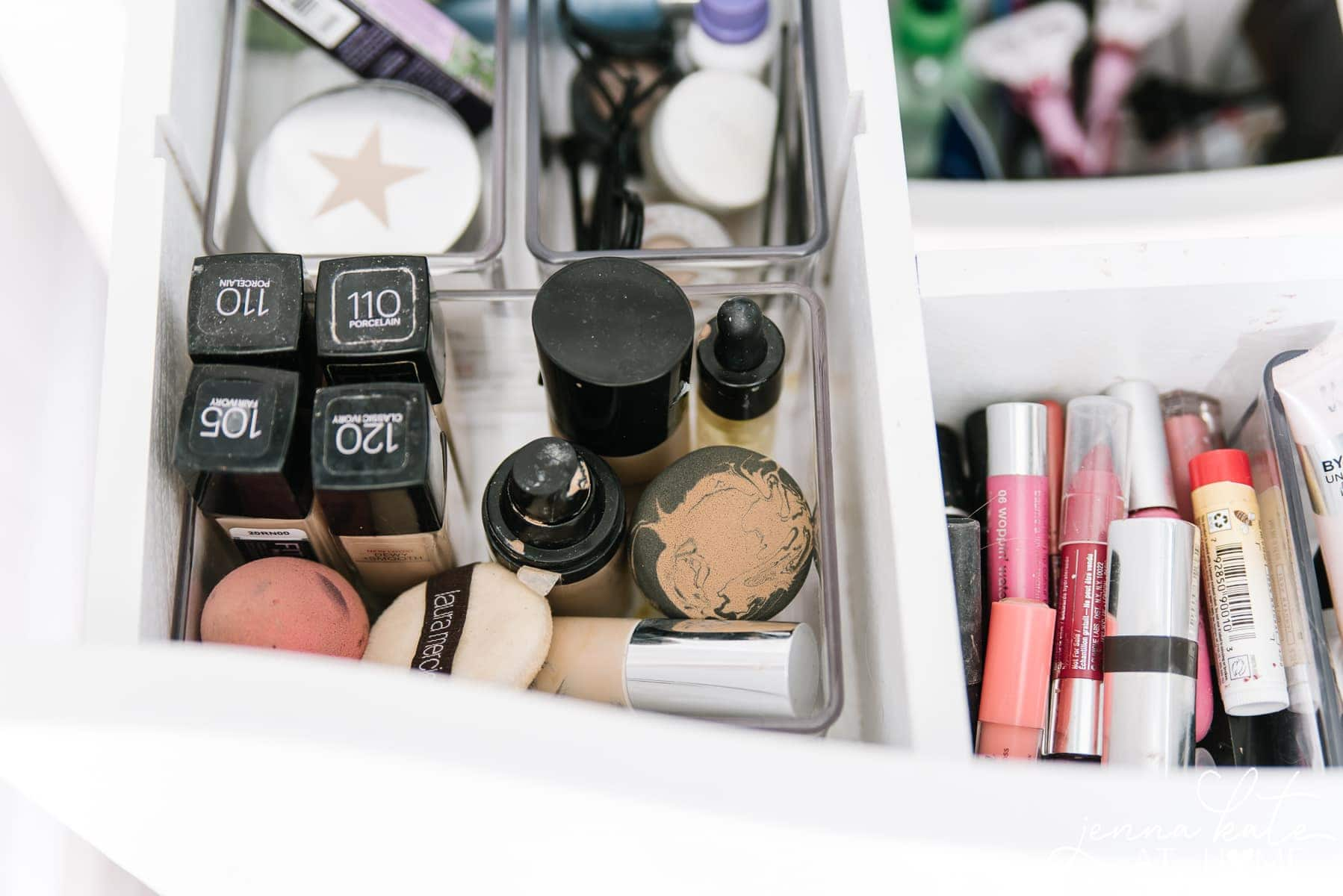 Organize bathroom drawers full of makeup and toiletries