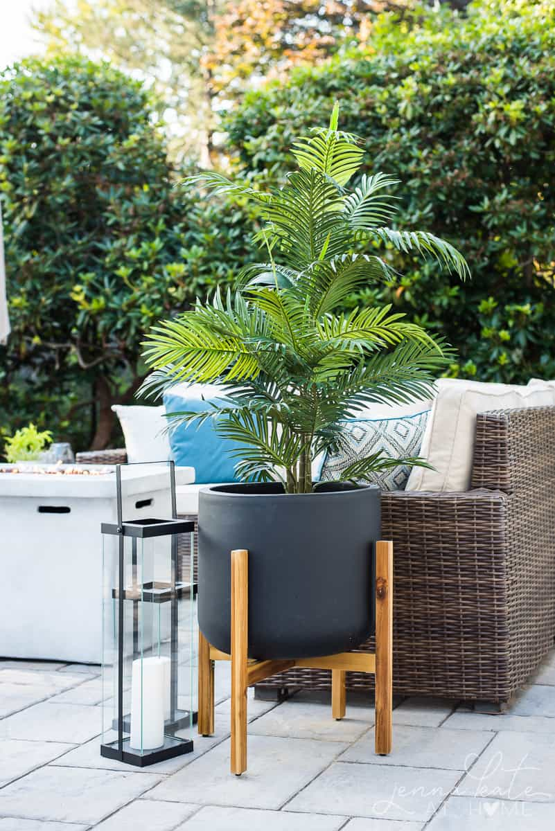 Tropical greenery adds a perfect coastal touch to our new backyard patio reveal