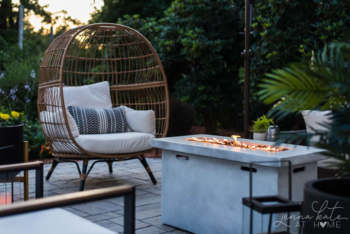 Our outdoor firepit is the perfect place to gather and enjoy a sunset