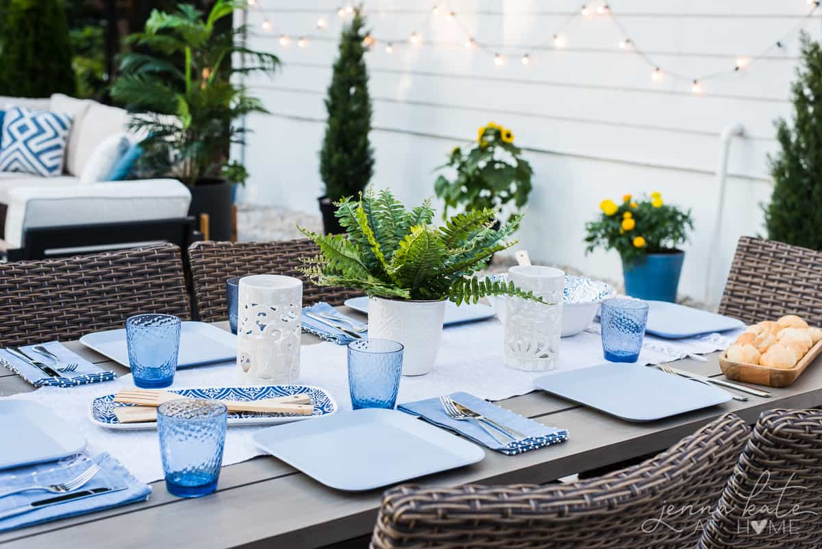 We love enjoying dinners outside on our new patio, with colorful coastal table settings