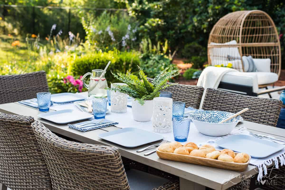 Coastal inspired outdoor patio decor makeover
