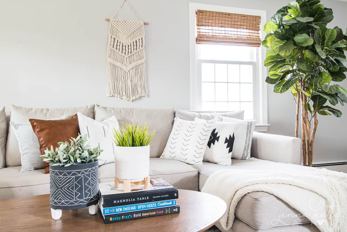 Boho home decor wall hanging and throw pillows