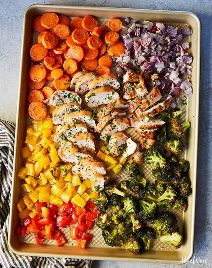 keto chicken and rainbow veggies sheet pan dinner