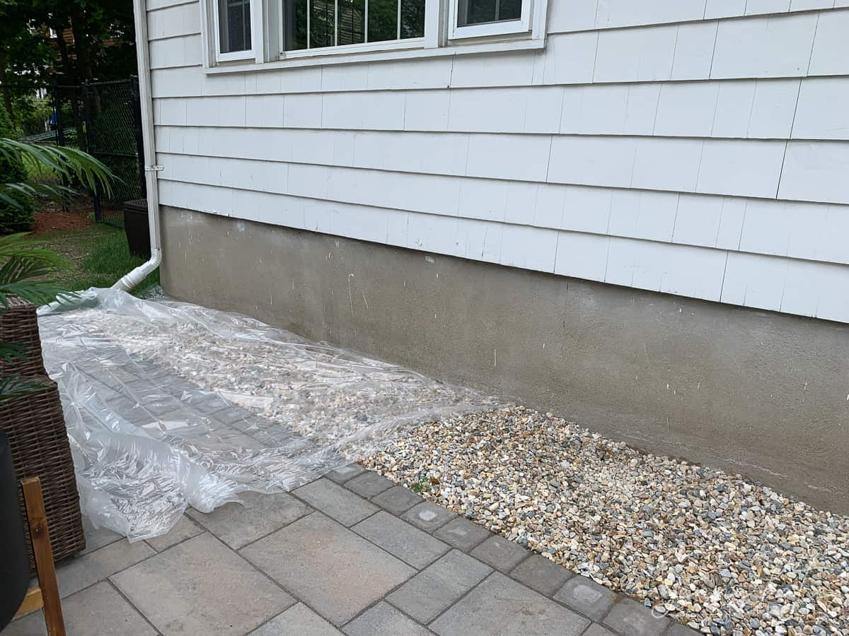The foundation of our house was an unattractive concrete color that needed to be painted
