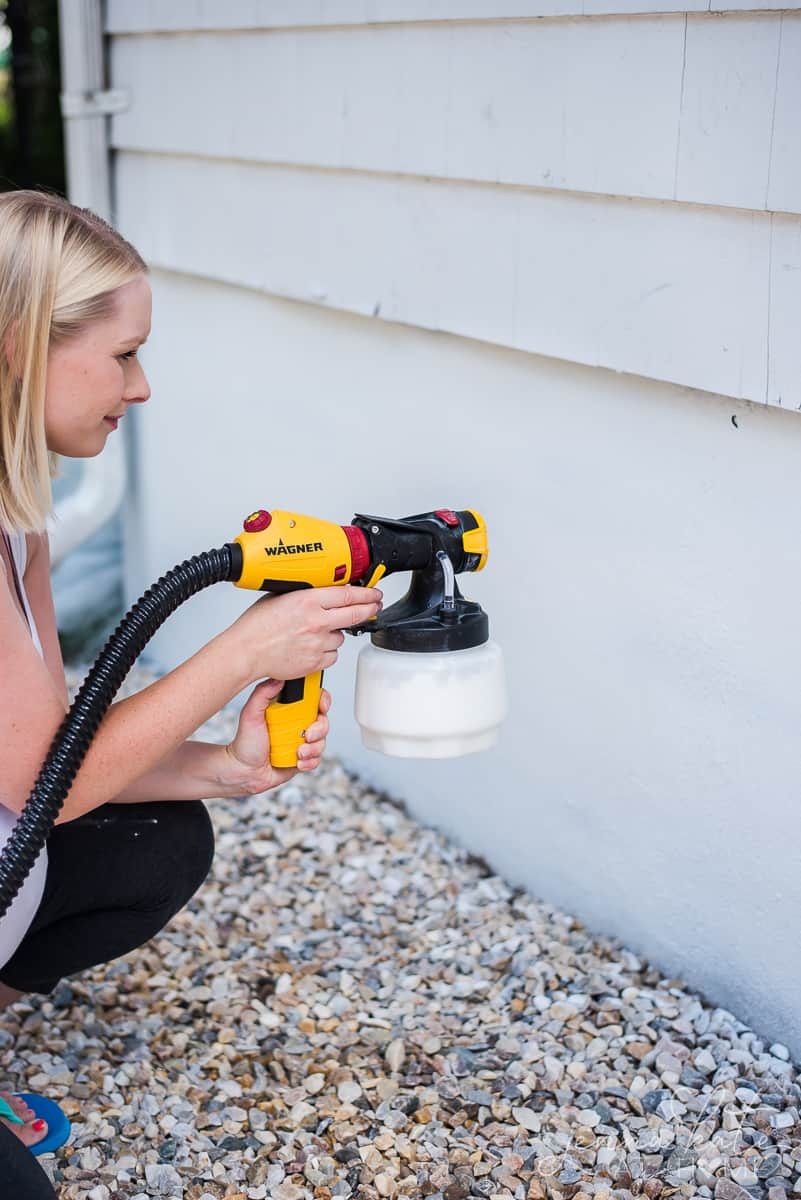 We used a Wagner spray gun to paint the foundation of our house