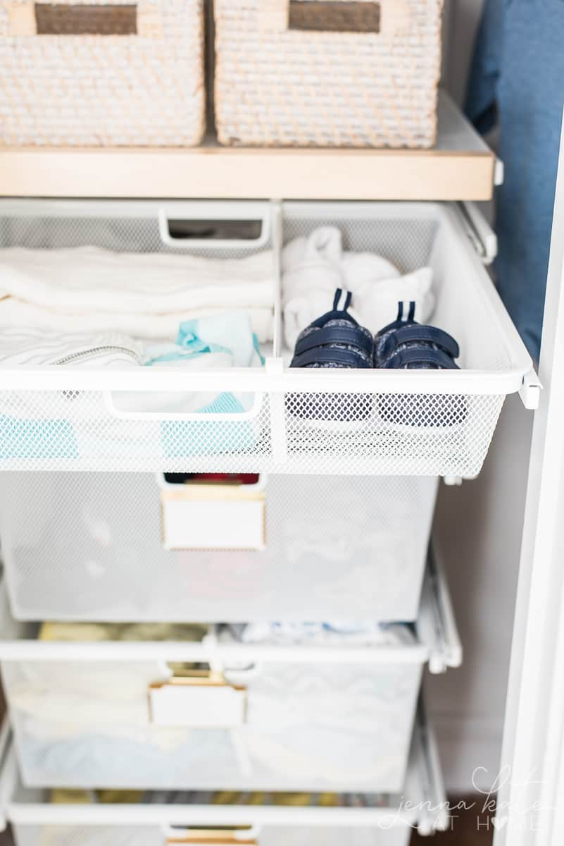 Storing baby clothes is simple with these stacked sliding drawers from The Container Store