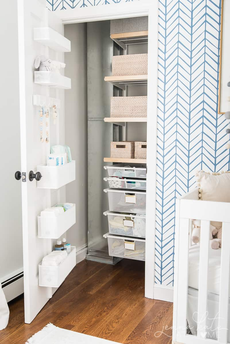 Closer door storage and stacked sliding door storage added much needed space to out cluttered nursery closet