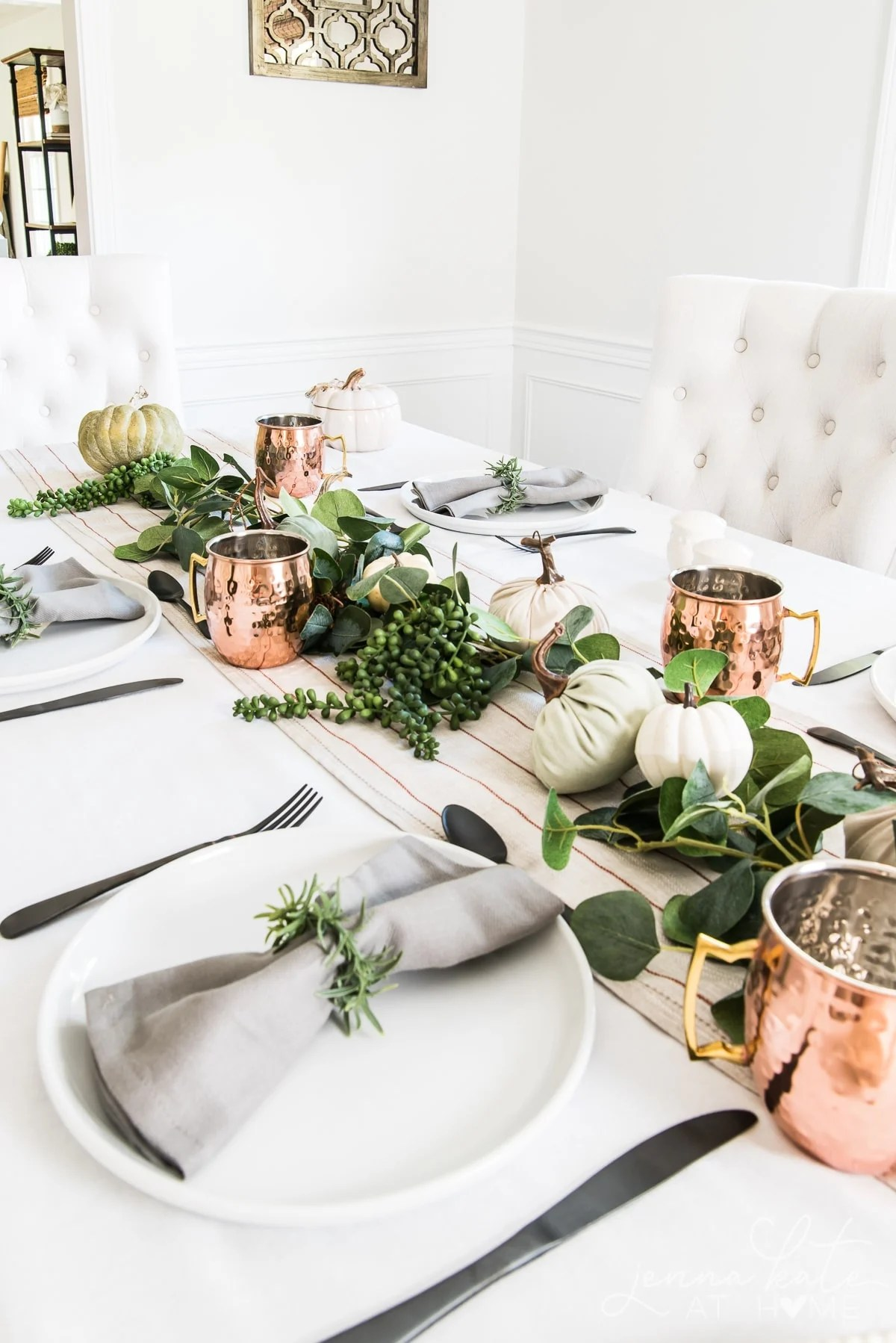Modern fall tabletop decor with black, white, copper and green 2020