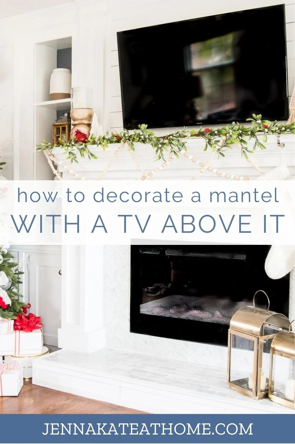 learn how to decorate a mantel with a TV over it