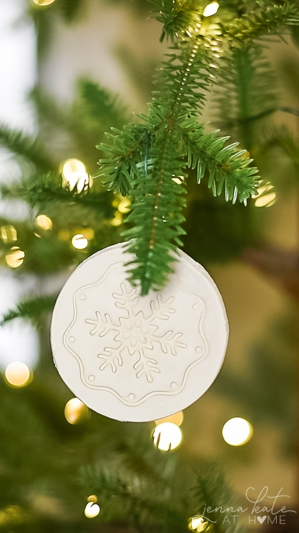 air dry clay ornament with snow flake print