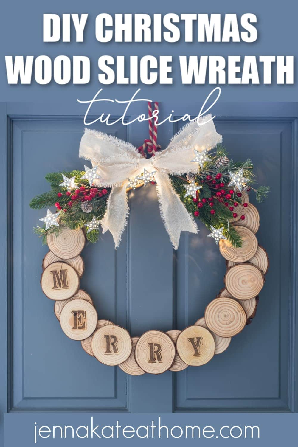 diy christmas wood slice wreath ideas
