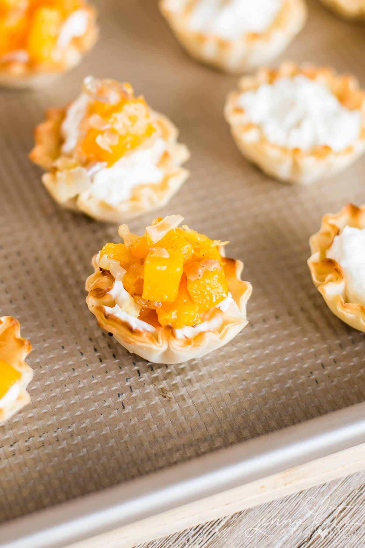 Butternut squash appetizers in mini phyllo shells with smoked cream cheese