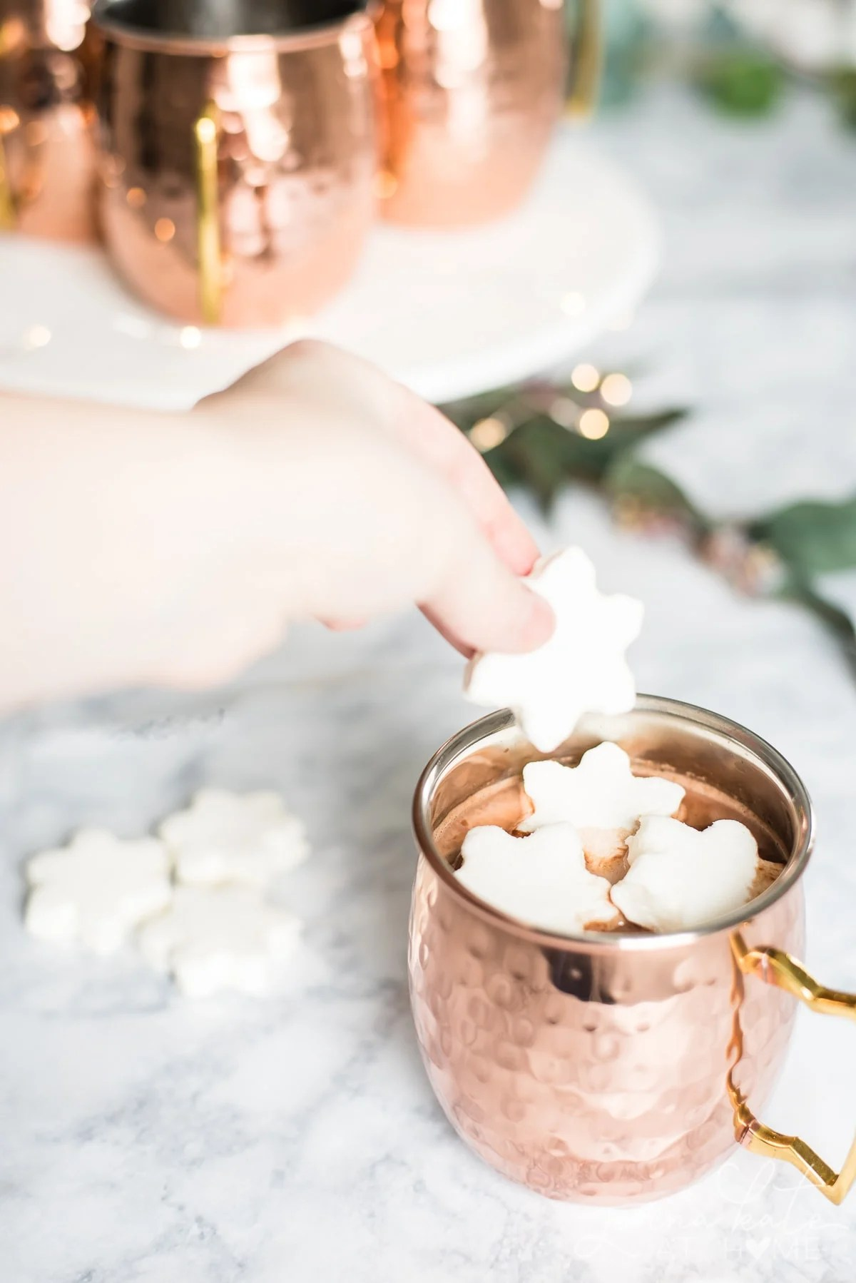 Top a warm mug of this creamy hot chocolate with fluffy marshmallows for a perfect winter drink